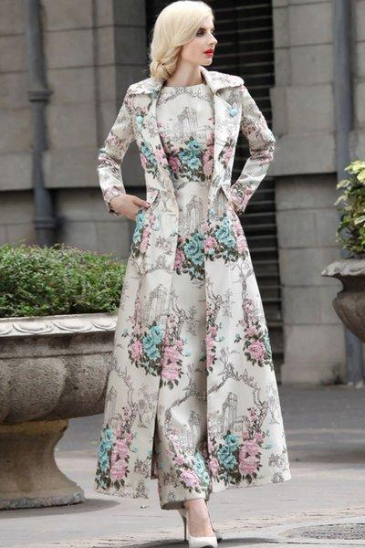 Turquoise Blue Winter Coats for Women Long Trench Coats for Women Jacquard High Quality Luxury Trench Coats Dress for Women