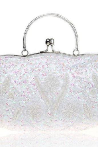 Bridal Purse Bridal Clutch Bridesmaids Shoulder Bags White Purses for Women Evening Bags Sequined Purse