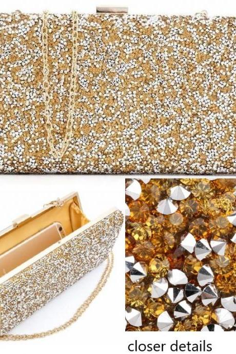 Gold Diamond Purse for Women Golden Clutch for Women Faux Diamonds Fashion and Elegant Lady of East