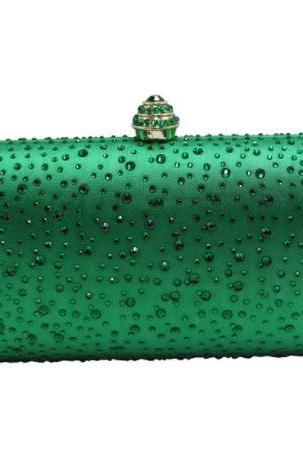 Green Bag with Faux Diamonds Green Shoulder Bags