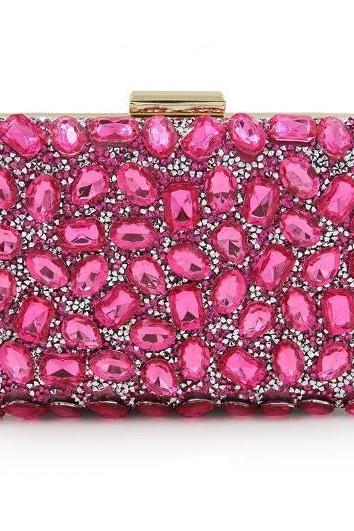 Hot Pink Evening Clutch Shoulder Bags RSS Boutique Beaded Hot Pink Clutch for Women Social Life Pink Bags