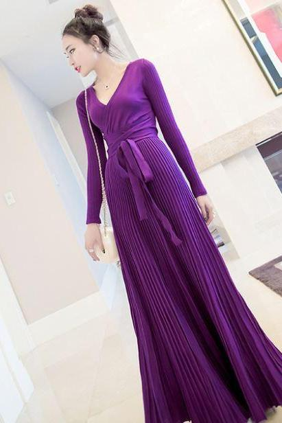 Purple Dress for Women Maxi Dresses fashion Dress New Arrival Fashion Long Sleeve Floor Length Dress