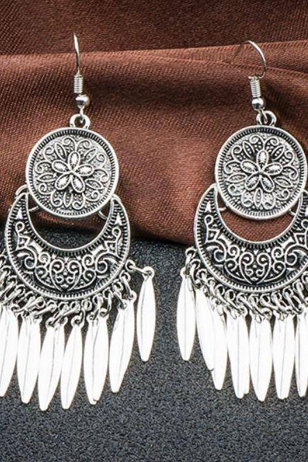 Dangle Earrings for Women Antique Silver Coin Shape