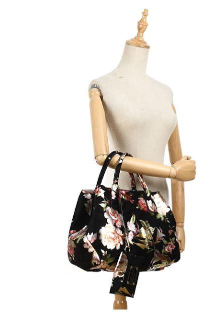 Black Tote Bags for Women Luxury Handbags Roomy Birthday Gift High Quality Floral Handbags