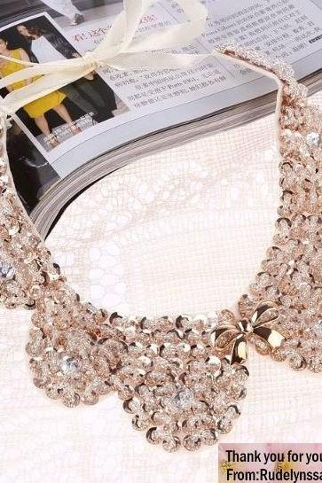 New Trend Fashion Necklaces Fake Collar Necklace Sequined Golden Collar Teen Girls and Womens Necklaces