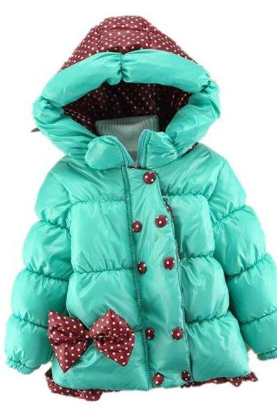 Hooded Parka for Girls Toddler Girls 2t,3t,4t Winter Cotton Padded Parkas Blue Parkas