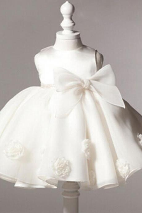 3 Months White Baby Dress Infant Ballgown Dress for Wedding, Baptism Christening