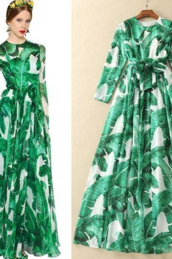 Green Dress Green Maxi Dress Printed Banana Leaves Luxury Dress for Women Chiffon Long Dresses