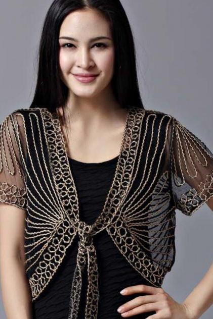 Black Blouse Black Shrug for Women Formal Wear Embroidery Laced Trims