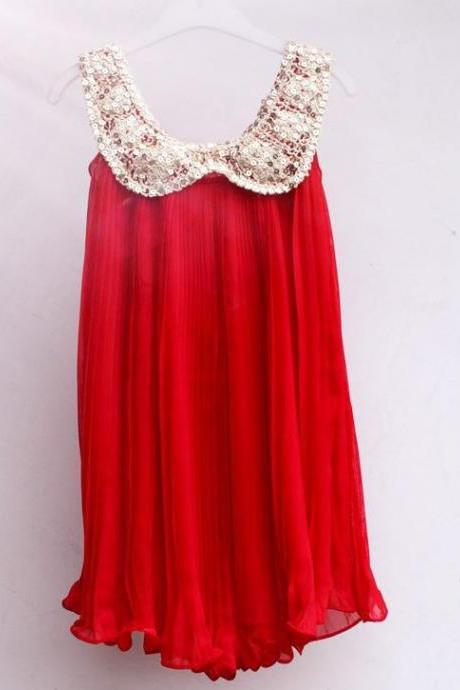 Girls Tutu Dress Red Chiffon Dress Red Sleeveless Dress Golden Sequined Collar