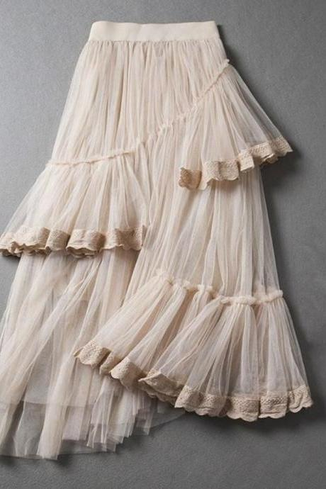 Skirts for Women Ivory Asymmetrical Layered Summer and Spring Long Skirts