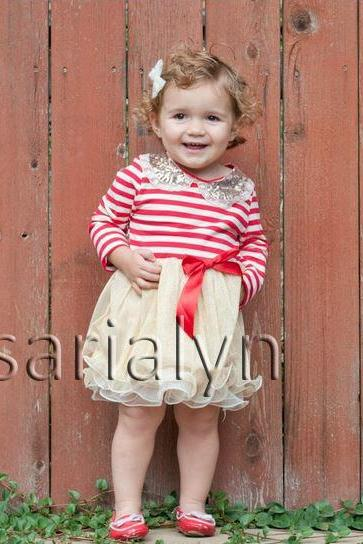 5T Christmas Dress for Girls Long Sleeve with Golden Pater Pan Collar