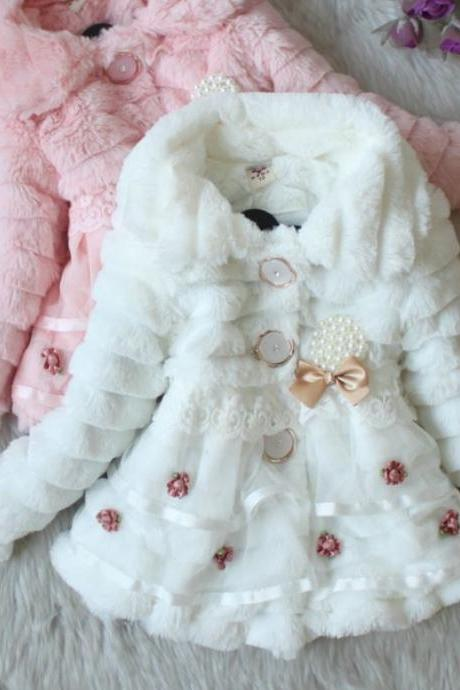 Girls White Jacket Coat Super Soft Faux Fur Winter Coat for Girls with Buttons