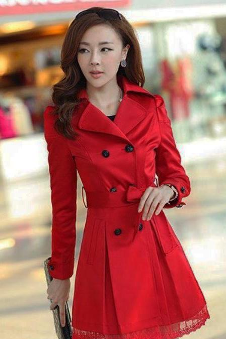 Large Size Red Trench Coats for Women Free Ship and Ready to Ship Red Dress Jacket with Laces