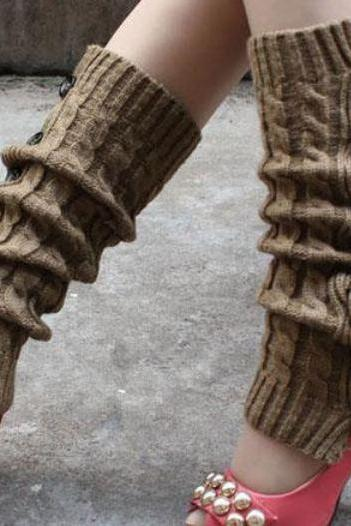 Brown Leg Warmers-brown Knitted leg Warmers-Green Brown Winter Body Accessories for Women