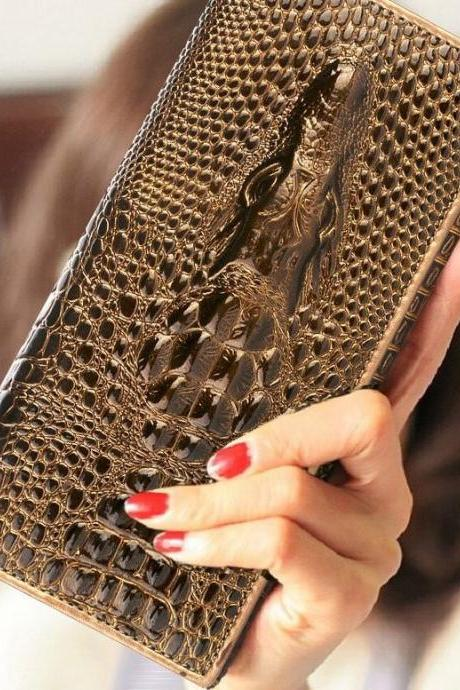 Brown Alligator Purse Wallet for Women Gift for Friend Wallet