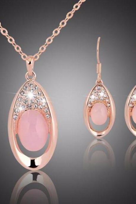 Peach Opal Jewelry Sets for Women Fashion Pink Necklace Peach Earrings