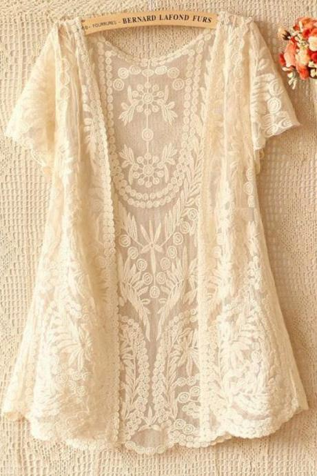 Lace Cardigan Bolero Shrug Off White Lace Crochet Short Sleeve Cardigan-Ready for Shipping