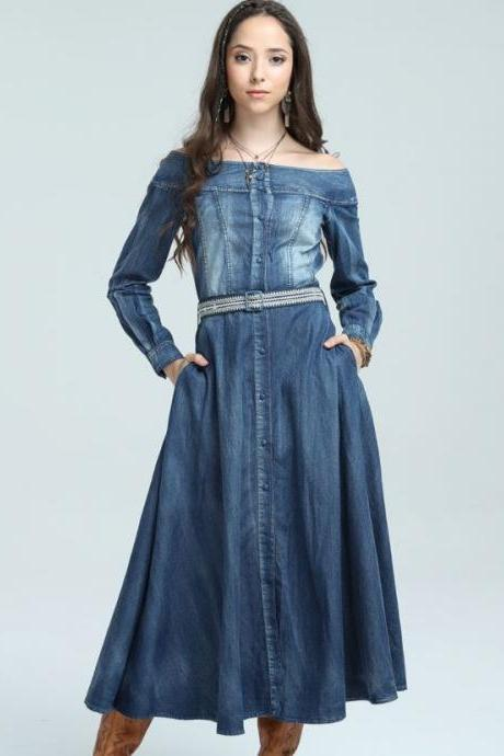 M,L, XL Summer Dresses for Women Blue Dress Denim Dress High Quality Denim Fashion