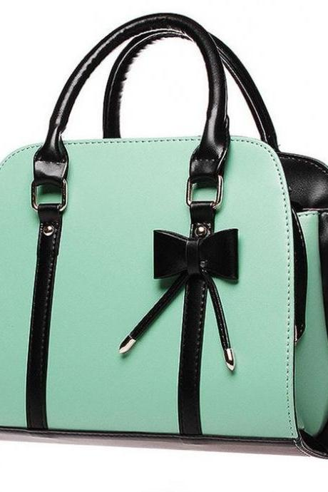 Blue Purse for Women Tote Leather Bag Fashion Trendy Mintgreen Purse with Bow