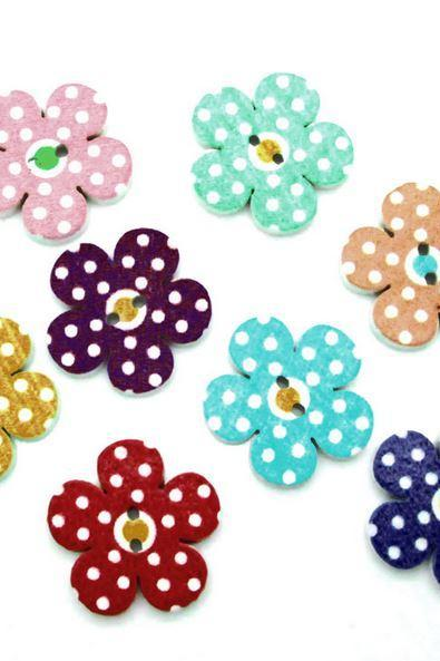 50 Pieces Multicolor Buttons Flower Shape Wood Polka Dots Buttons DIY