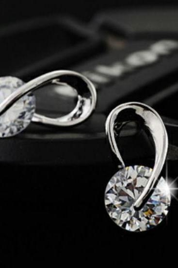 Top Quality Silver Stud Earrings with Austria CZ Diamond Silver Plated Sparkly Earrings