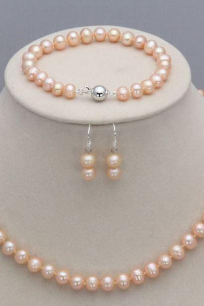 Peach Pearls Jewelry Sets Wedding Gift Freshwater Cultured Peach Pearl