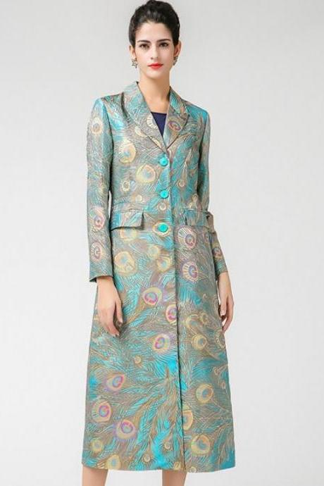 Silk Jacquard Peacock Pattern Luxury Trench Coats for Women Peacock Pattern Peacock Color