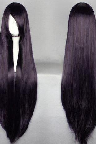 Purple Hair Wig Cosplay 100cm Dark Purple Wig Long Straight