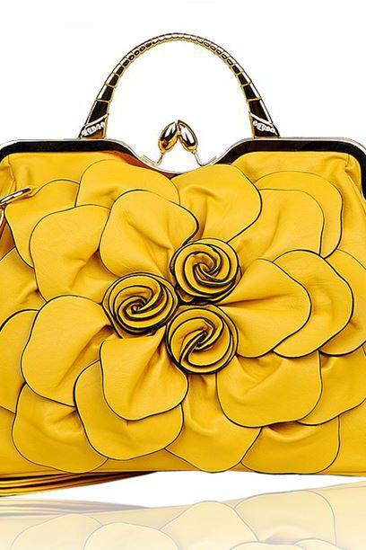 Yellow Crossbags for Women Big Flower Handbags for Women