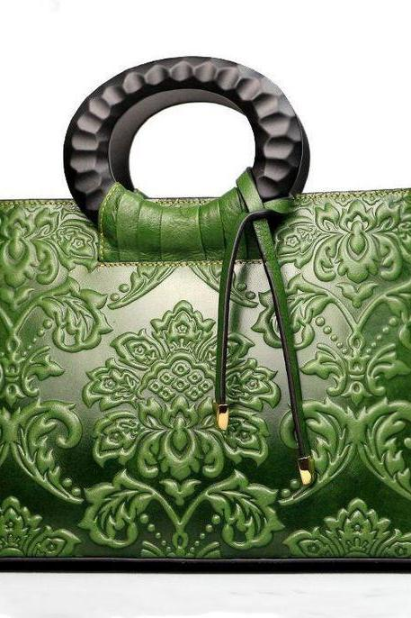 Green Bag with Embossed Unique Design Chinese Designs Green Handbags