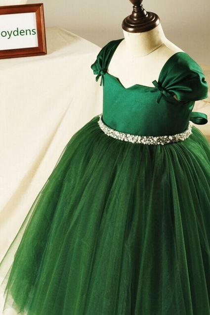 Green Tutu Dress with Bow Diamond Belt Tulle Party Princess Dresses