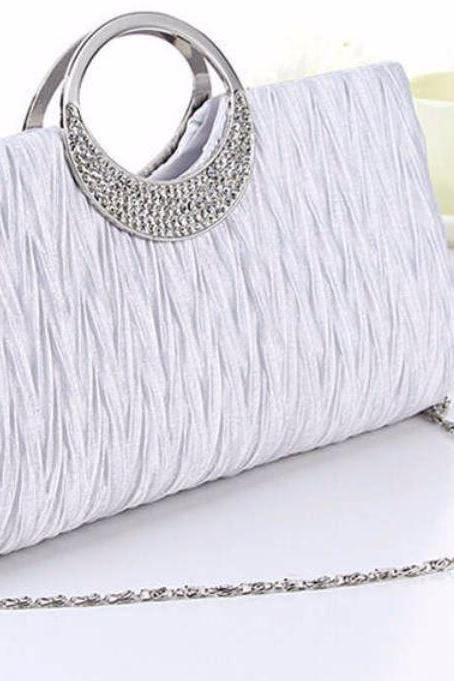 White Bridal Clutch with Faux Diamonds
