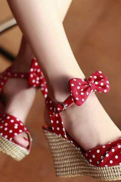Red Polka Dots Shoes for Women with Bow