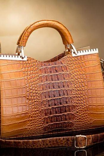 Brown Leather Bags Shoulder Bags Embossed Crocodile Skin Leather Brown Bags