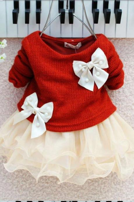 Red Dress Red Baby Dress Newborn Dress with Ivory Bow with Matching Bow Headband