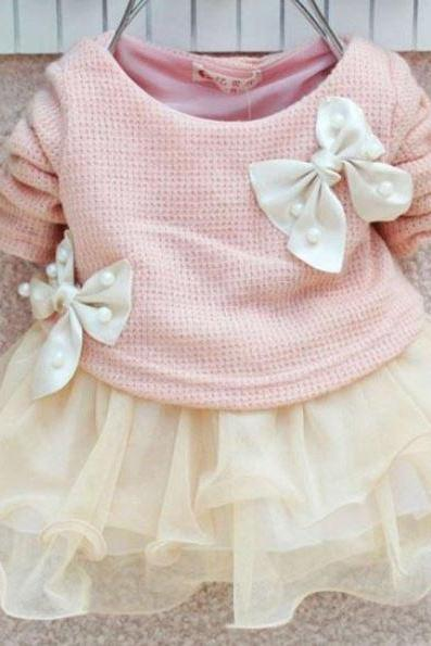 2T Pink Dress Long Sleeve Pink Tutu Dress with Cute Bows