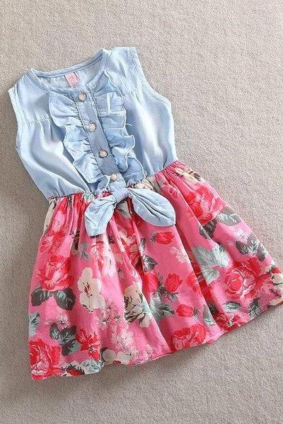 4T Hot Pink Girls Denim Dress Floral Prints Summer Spring Sleeveless Magenta Dress Toddler Girls Dress