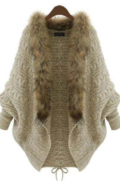 Knitted Cardigan for Women Oatmeal Color Winter Batwing Sweater with Fur Collar