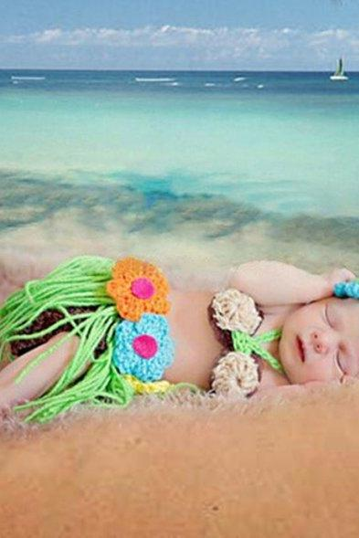 Hula Baby Hawaiian Tutu Skirt with Headband and Tiny Brassiere Props for Newborn Baby Girls