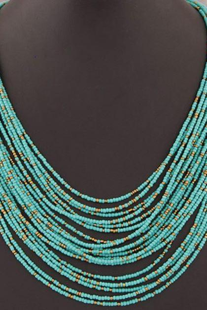 Necklace for Women Turquoise Multi-layer Choker Colorful Beaded Necklaces