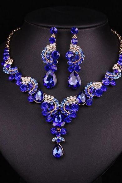 Royal Blue Necklaces Royal Blue Choker Necklace for Women Bridesmaids Jewelry Sets