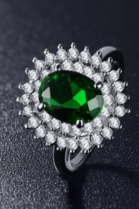 Beautiful Rings AAA Cubic Zirconia Emerald Green Jewelry For Women Bijoux Rings