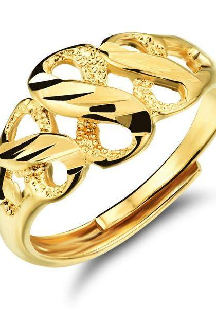 Women 18K Gold Plated Infinity Engraved Resizable Rings Friendship Golden Rings