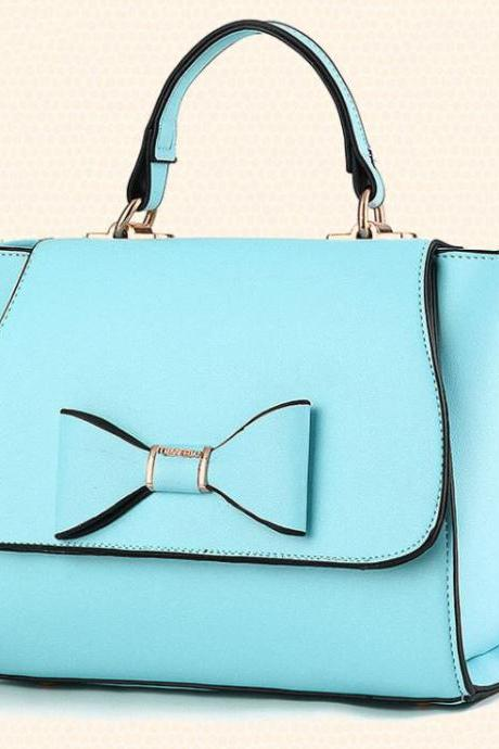 Blue Purse with Bow Candy Color Bags Blue Leather Bags for Women Bows