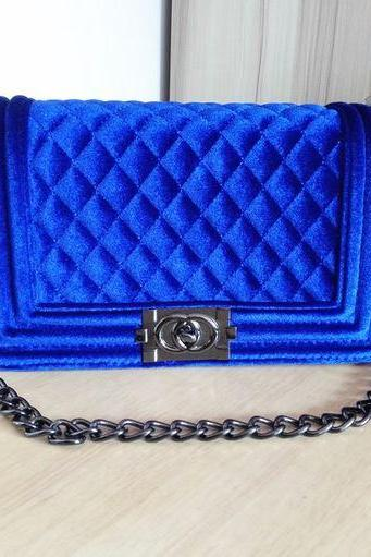 Womens Fashion Royal Blue Crossbody Bags Leather Bags Quality Royal Blue Purses