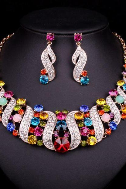 Womens Multi-color Jewelry Sets Statement Choker Necklace Mother of the Bride