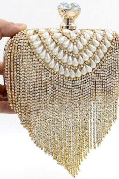 Gold Clutch Evening Bridal Shower Gift Clutch Vintage Pearl Rhinestone Tassel Shoulder Bag