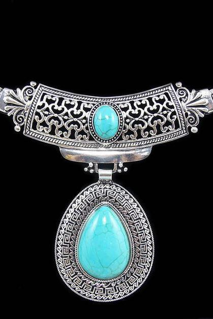 Vintage turquoise stone silver tibetan plated statement necklaces and pendants