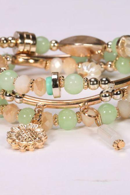 Womens Beautiful Mint Green Bracelet Chinese Jade Beads Multi-Layer Mintgreen Cuffs